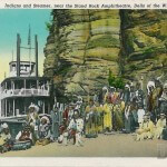 Indians and Steamer, near the Stand Rock Amphitheater, Dells of