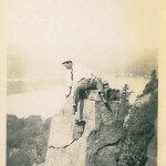 A Man Sits On The Rocks At Devil's Lake.
