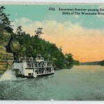 Excursion Steamer passing Romance Cliff, Dells of the Wisconsin