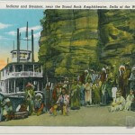 Indians and steamer, near the Stand Rock Ampitheatre, Dells of t